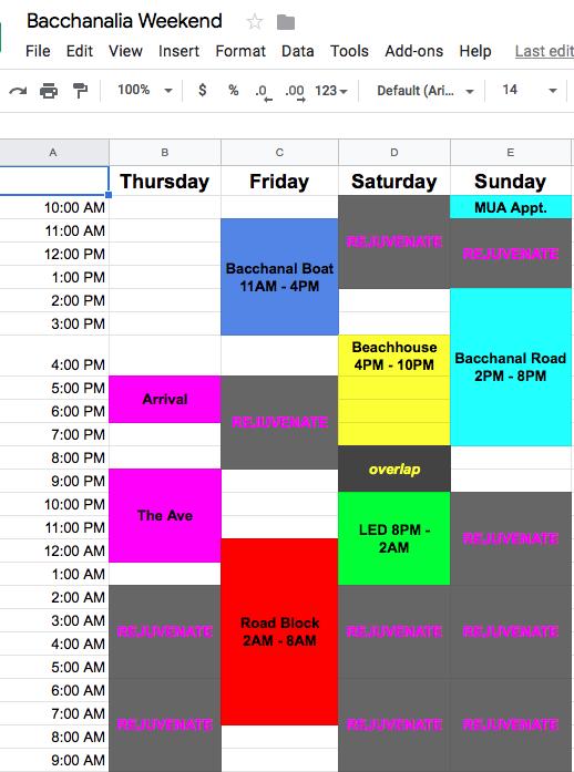 Bacchanalia Fete Schedule