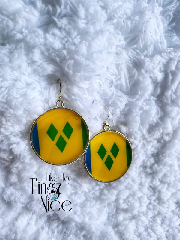 St. Vincent Bezel Flag Earrings