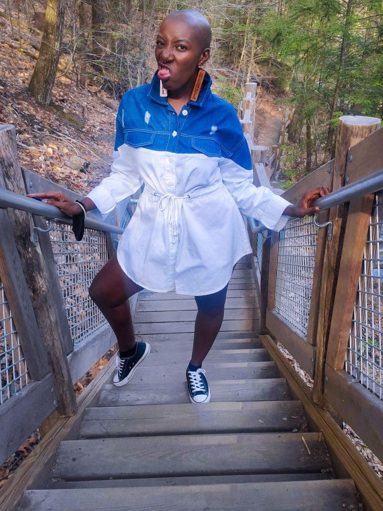 Blue Half Denim Distressed Button Up Shirt Dress